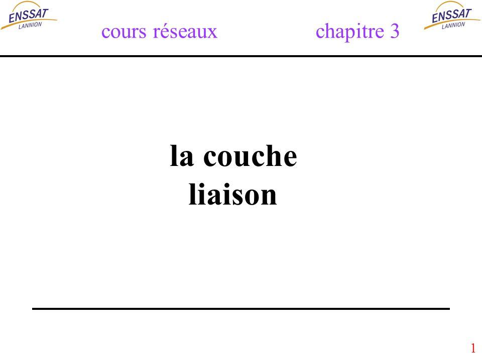 62 Les collisions (3) : à léchange de trame A lémission : La couche LLC transmet une trame (= suite de bits) à la couche physique.