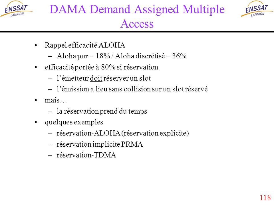 118 DAMA Demand Assigned Multiple Access Rappel efficacité ALOHA –Aloha pur = 18% / Aloha discrétisé = 36% efficacité portée à 80% si réservation –lémetteur doit réserver un slot –lémission a lieu sans collision sur un slot réservé mais… –la réservation prend du temps quelques exemples –réservation-ALOHA (réservation explicite) –réservation implicite PRMA –réservation-TDMA