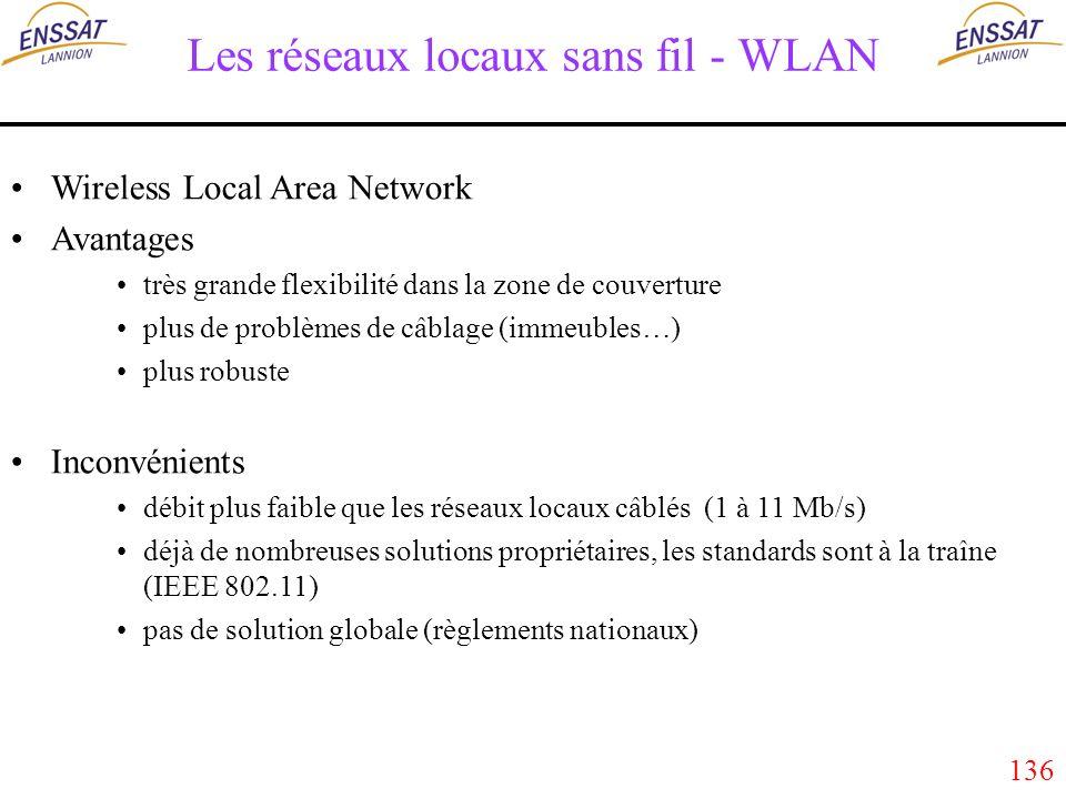 136 Les réseaux locaux sans fil - WLAN Wireless Local Area Network Avantages très grande flexibilité dans la zone de couverture plus de problèmes de câblage (immeubles…) plus robuste Inconvénients débit plus faible que les réseaux locaux câblés (1 à 11 Mb/s) déjà de nombreuses solutions propriétaires, les standards sont à la traîne (IEEE 802.11) pas de solution globale (règlements nationaux)