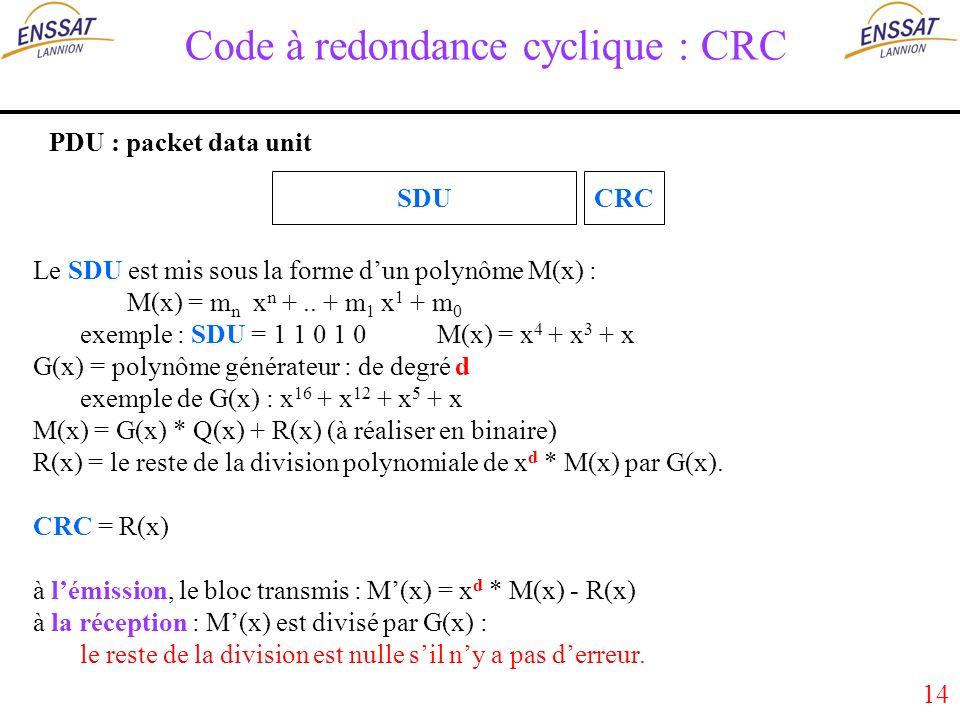 14 Code à redondance cyclique : CRC PDU : packet data unit SDUCRC Le SDU est mis sous la forme dun polynôme M(x) : M(x) = m n x n +..