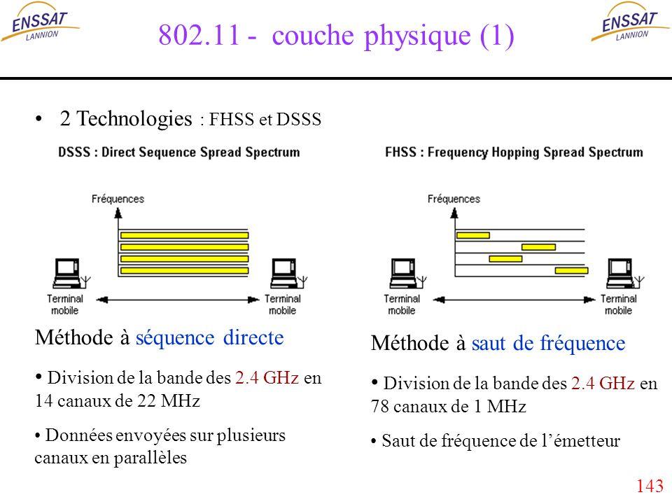 143 802.11 - couche physique (1) 2 Technologies : FHSS et DSSS Méthode à séquence directe Division de la bande des 2.4 GHz en 14 canaux de 22 MHz Données envoyées sur plusieurs canaux en parallèles Méthode à saut de fréquence Division de la bande des 2.4 GHz en 78 canaux de 1 MHz Saut de fréquence de lémetteur