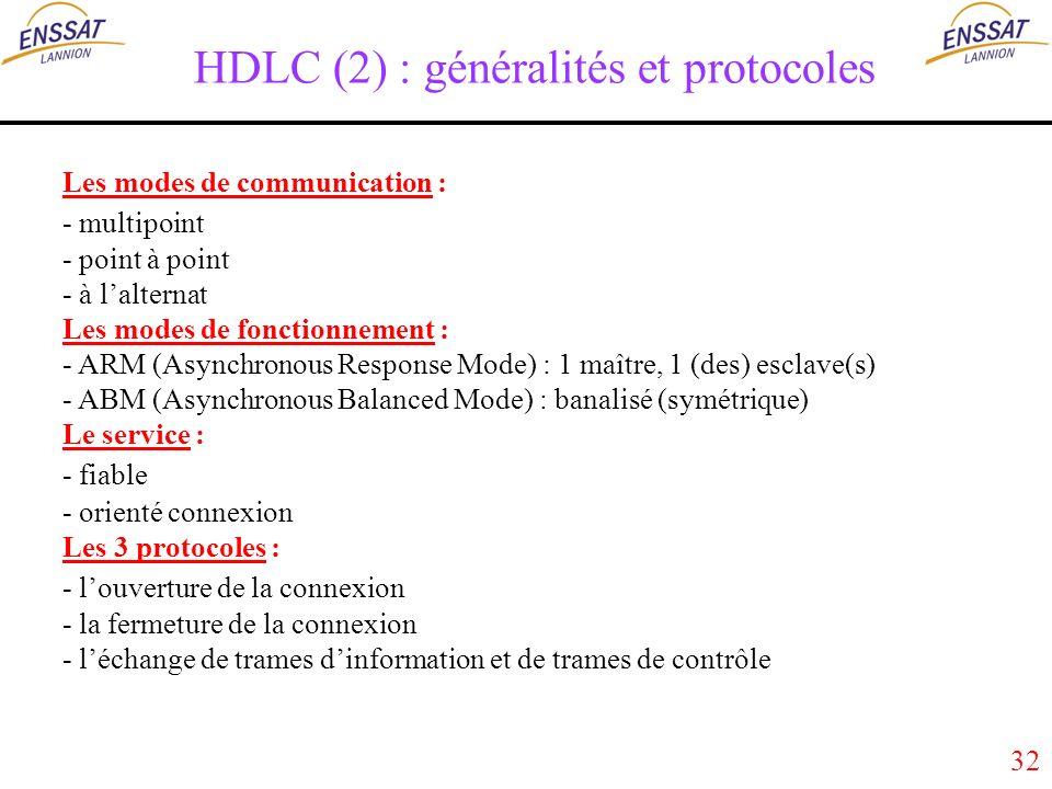 32 HDLC (2) : généralités et protocoles Les modes de communication : - multipoint - point à point - à lalternat Les modes de fonctionnement : - ARM (Asynchronous Response Mode) : 1 maître, 1 (des) esclave(s) - ABM (Asynchronous Balanced Mode) : banalisé (symétrique) Le service : - fiable - orienté connexion Les 3 protocoles : - louverture de la connexion - la fermeture de la connexion - léchange de trames dinformation et de trames de contrôle