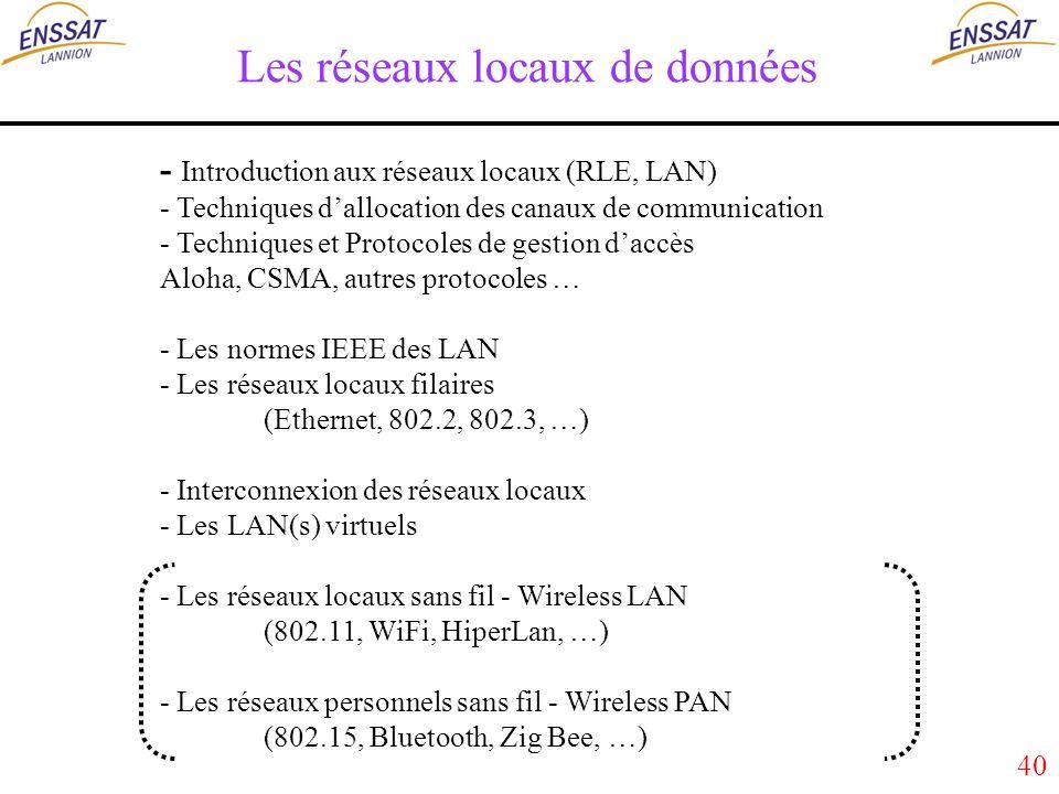 40 Les réseaux locaux de données - Introduction aux réseaux locaux (RLE, LAN) - Techniques dallocation des canaux de communication - Techniques et Protocoles de gestion daccès Aloha, CSMA, autres protocoles … - Les normes IEEE des LAN - Les réseaux locaux filaires (Ethernet, 802.2, 802.3, …) - Interconnexion des réseaux locaux - Les LAN(s) virtuels - Les réseaux locaux sans fil - Wireless LAN (802.11, WiFi, HiperLan, …) - Les réseaux personnels sans fil - Wireless PAN (802.15, Bluetooth, Zig Bee, …)