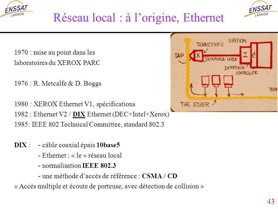 43 Réseau local : à lorigine, Ethernet 1970 : mise au point dans les laboratoires du XEROX PARC 1976 : R.