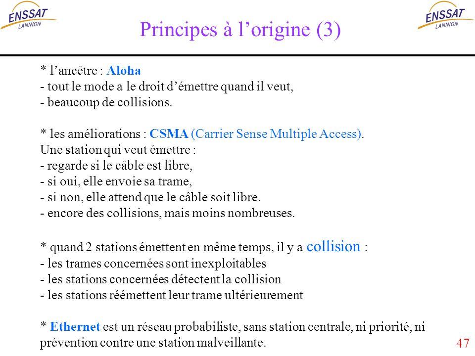 47 Principes à lorigine (3) * lancêtre : Aloha - tout le mode a le droit démettre quand il veut, - beaucoup de collisions.