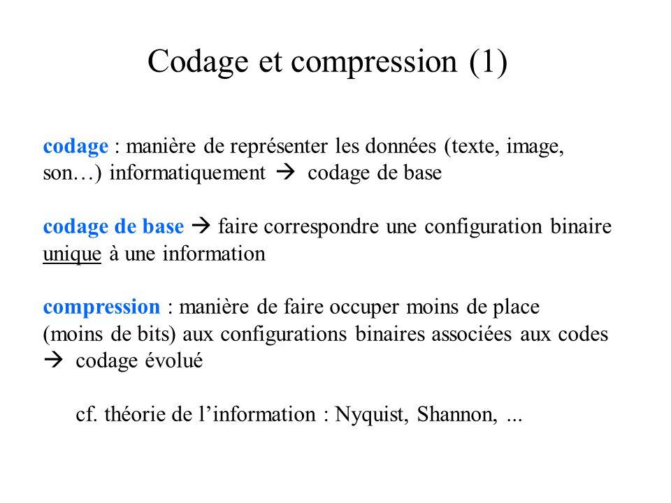 Codage et compression (1) codage : manière de représenter les données (texte, image, son…) informatiquement codage de base codage de base faire correspondre une configuration binaire unique à une information compression : manière de faire occuper moins de place (moins de bits) aux configurations binaires associées aux codes codage évolué cf.