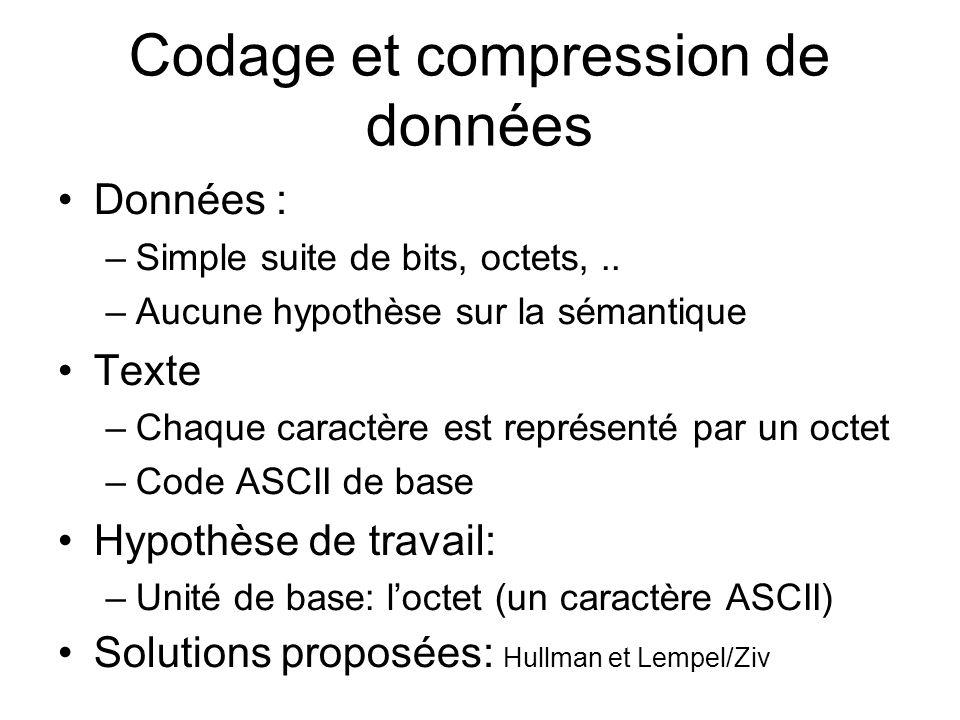 Codage et compression de données Données : –Simple suite de bits, octets,..