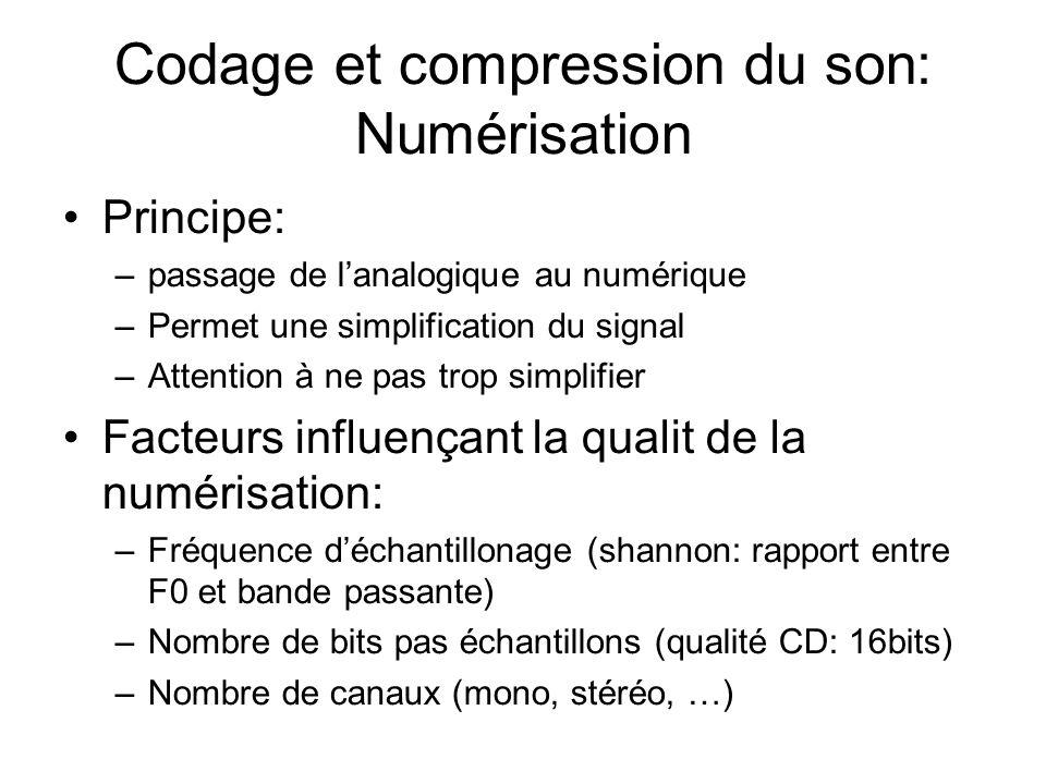 Codage et compression du son: Numérisation Principe: –passage de lanalogique au numérique –Permet une simplification du signal –Attention à ne pas trop simplifier Facteurs influençant la qualit de la numérisation: –Fréquence déchantillonage (shannon: rapport entre F0 et bande passante) –Nombre de bits pas échantillons (qualité CD: 16bits) –Nombre de canaux (mono, stéréo, …)