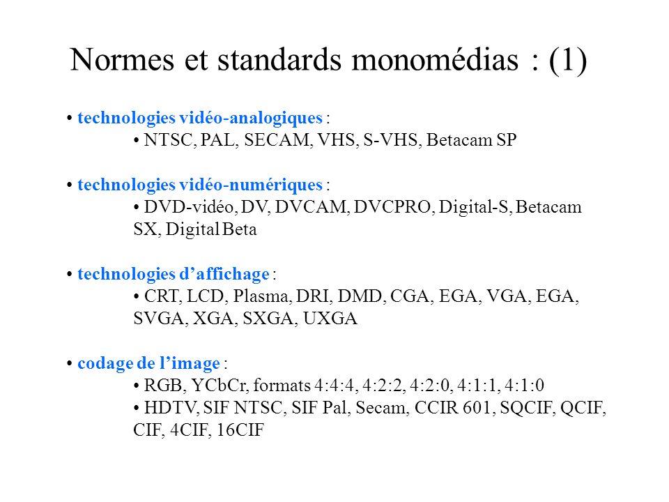 Normes et standards monomédias : (1) technologies vidéo-analogiques : NTSC, PAL, SECAM, VHS, S-VHS, Betacam SP technologies vidéo-numériques : DVD-vidéo, DV, DVCAM, DVCPRO, Digital-S, Betacam SX, Digital Beta technologies daffichage : CRT, LCD, Plasma, DRI, DMD, CGA, EGA, VGA, EGA, SVGA, XGA, SXGA, UXGA codage de limage : RGB, YCbCr, formats 4:4:4, 4:2:2, 4:2:0, 4:1:1, 4:1:0 HDTV, SIF NTSC, SIF Pal, Secam, CCIR 601, SQCIF, QCIF, CIF, 4CIF, 16CIF