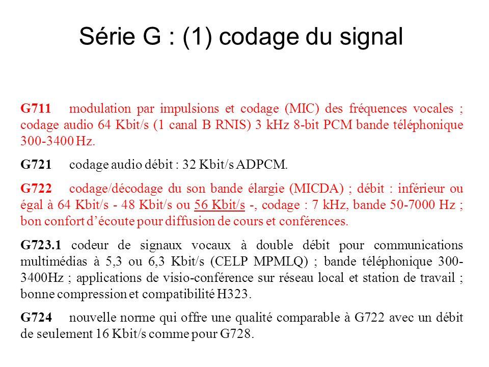 Série G : (1) codage du signal G711modulation par impulsions et codage (MIC) des fréquences vocales ; codage audio 64 Kbit/s (1 canal B RNIS) 3 kHz 8-bit PCM bande téléphonique 300-3400 Hz.