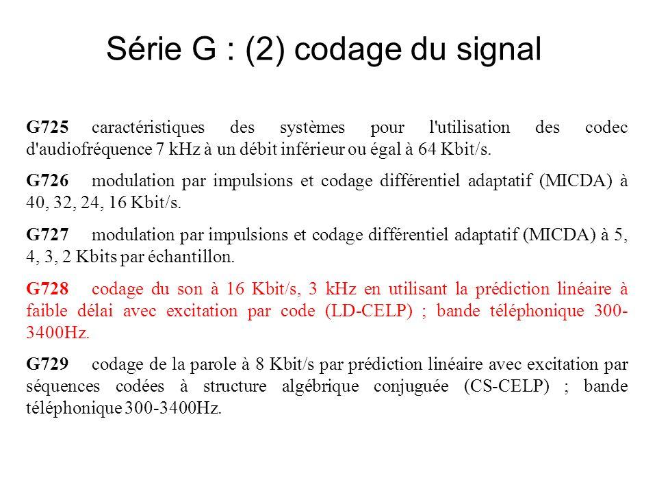Série G : (2) codage du signal G725caractéristiques des systèmes pour l utilisation des codec d audiofréquence 7 kHz à un débit inférieur ou égal à 64 Kbit/s.