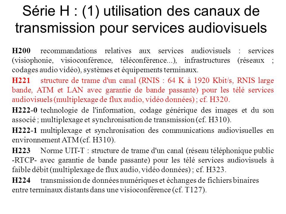 Série H : (1) utilisation des canaux de transmission pour services audiovisuels H200recommandations relatives aux services audiovisuels : services (visiophonie, visioconférence, téléconférence...), infrastructures (réseaux ; codages audio vidéo), systèmes et équipements terminaux.