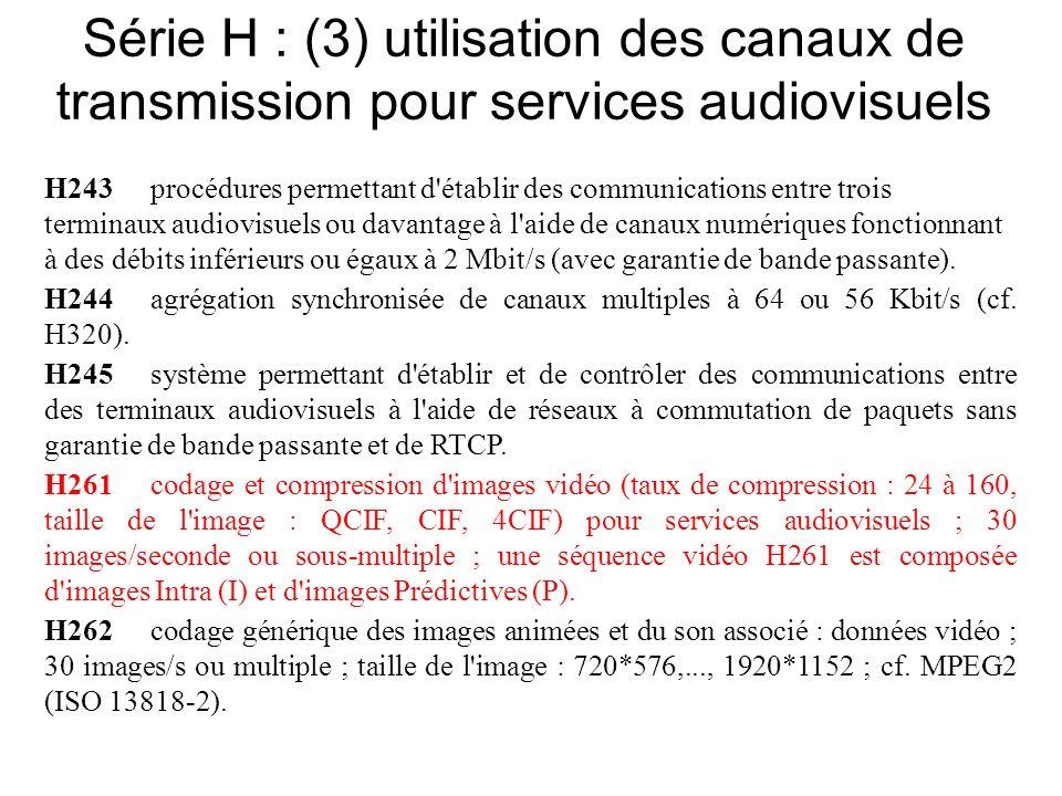 Série H : (3) utilisation des canaux de transmission pour services audiovisuels H243procédures permettant d établir des communications entre trois terminaux audiovisuels ou davantage à l aide de canaux numériques fonctionnant à des débits inférieurs ou égaux à 2 Mbit/s (avec garantie de bande passante).