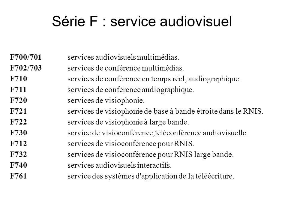 Série F : service audiovisuel F700/701services audiovisuels multimédias.