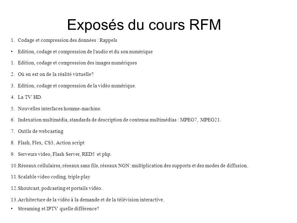 Exposés du cours RFM 1.Codage et compression des données : Rappels Edition, codage et compression de l audio et du son numérique 1.Edition, codage et compression des images numériques 2.Où en est on de la réalité virtuelle.