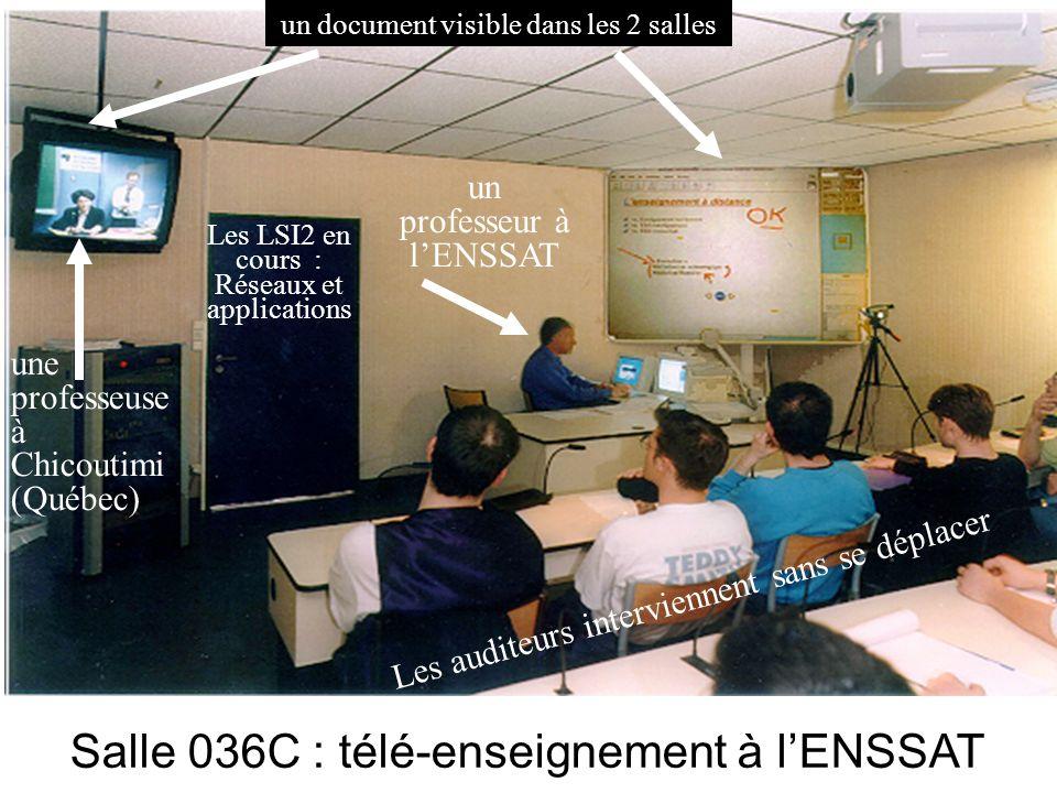 Salle de télé-enseignement à lENSSAT Salle 036C : télé-enseignement à lENSSAT Les LSI2 en cours : Réseaux et applications une professeuse à Chicoutimi (Québec) un professeur à lENSSAT un document visible dans les 2 salles Les auditeurs interviennent sans se déplacer