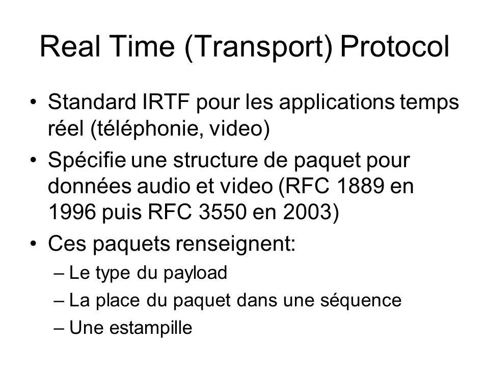 Real Time (Transport) Protocol Standard IRTF pour les applications temps réel (téléphonie, video) Spécifie une structure de paquet pour données audio et video (RFC 1889 en 1996 puis RFC 3550 en 2003) Ces paquets renseignent: –Le type du payload –La place du paquet dans une séquence –Une estampille