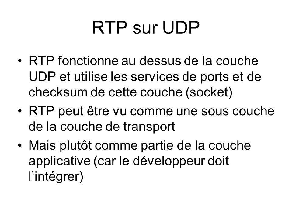 RTP sur UDP RTP fonctionne au dessus de la couche UDP et utilise les services de ports et de checksum de cette couche (socket) RTP peut être vu comme une sous couche de la couche de transport Mais plutôt comme partie de la couche applicative (car le développeur doit lintégrer)