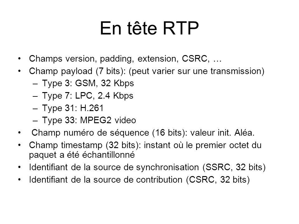 En tête RTP Champs version, padding, extension, CSRC, … Champ payload (7 bits): (peut varier sur une transmission) –Type 3: GSM, 32 Kbps –Type 7: LPC, 2.4 Kbps –Type 31: H.261 –Type 33: MPEG2 video Champ numéro de séquence (16 bits): valeur init.