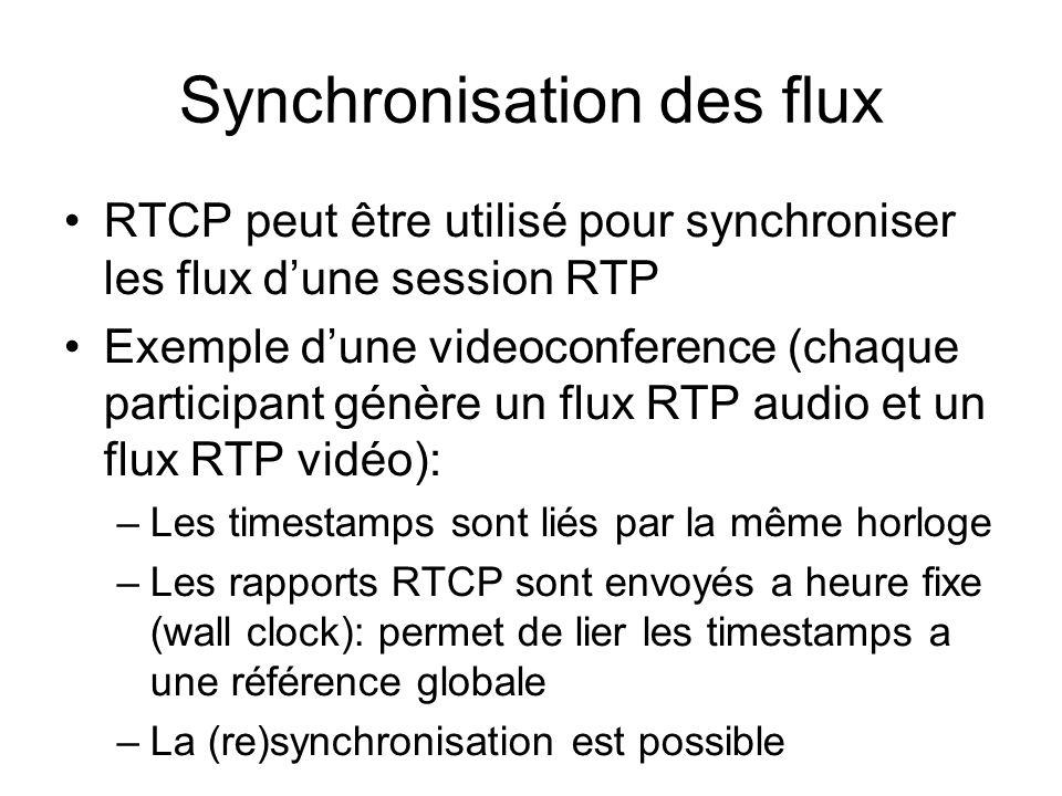 Synchronisation des flux RTCP peut être utilisé pour synchroniser les flux dune session RTP Exemple dune videoconference (chaque participant génère un flux RTP audio et un flux RTP vidéo): –Les timestamps sont liés par la même horloge –Les rapports RTCP sont envoyés a heure fixe (wall clock): permet de lier les timestamps a une référence globale –La (re)synchronisation est possible