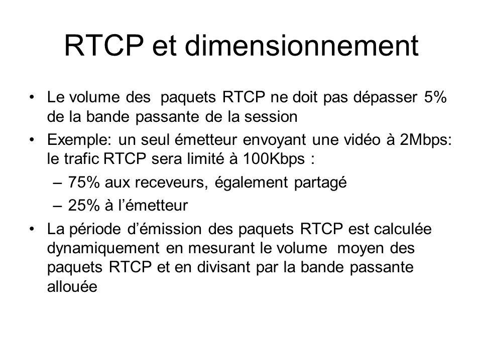 RTCP et dimensionnement Le volume des paquets RTCP ne doit pas dépasser 5% de la bande passante de la session Exemple: un seul émetteur envoyant une vidéo à 2Mbps: le trafic RTCP sera limité à 100Kbps : –75% aux receveurs, également partagé –25% à lémetteur La période démission des paquets RTCP est calculée dynamiquement en mesurant le volume moyen des paquets RTCP et en divisant par la bande passante allouée