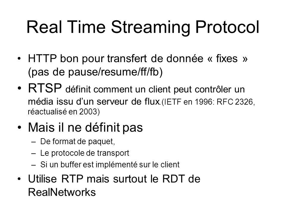 Real Time Streaming Protocol HTTP bon pour transfert de donnée « fixes » (pas de pause/resume/ff/fb) RTSP définit comment un client peut contrôler un média issu dun serveur de flux.(IETF en 1996: RFC 2326, réactualisé en 2003) Mais il ne définit pas –De format de paquet, –Le protocole de transport –Si un buffer est implémenté sur le client Utilise RTP mais surtout le RDT de RealNetworks