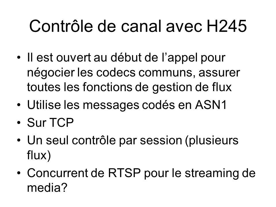 Contrôle de canal avec H245 Il est ouvert au début de lappel pour négocier les codecs communs, assurer toutes les fonctions de gestion de flux Utilise les messages codés en ASN1 Sur TCP Un seul contrôle par session (plusieurs flux) Concurrent de RTSP pour le streaming de media
