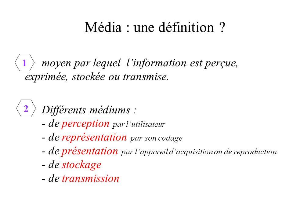 Média : une définition .moyen par lequel linformation est perçue, exprimée, stockée ou transmise.