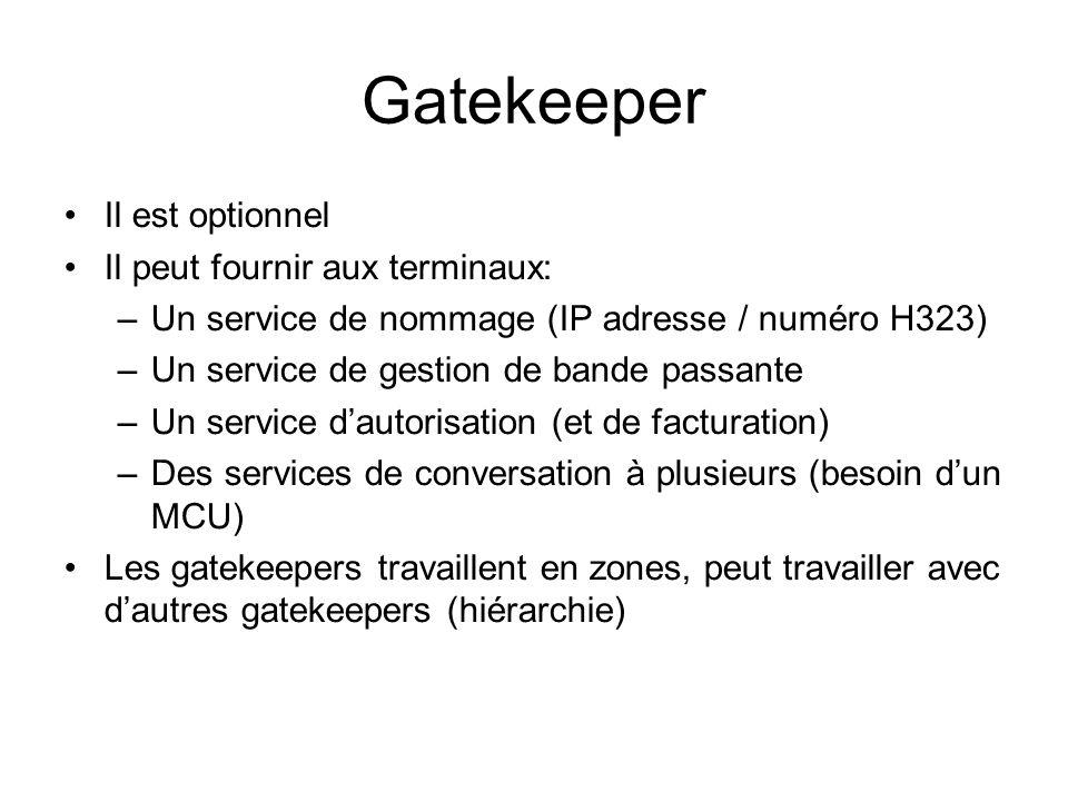 Gatekeeper Il est optionnel Il peut fournir aux terminaux: –Un service de nommage (IP adresse / numéro H323) –Un service de gestion de bande passante –Un service dautorisation (et de facturation) –Des services de conversation à plusieurs (besoin dun MCU) Les gatekeepers travaillent en zones, peut travailler avec dautres gatekeepers (hiérarchie)