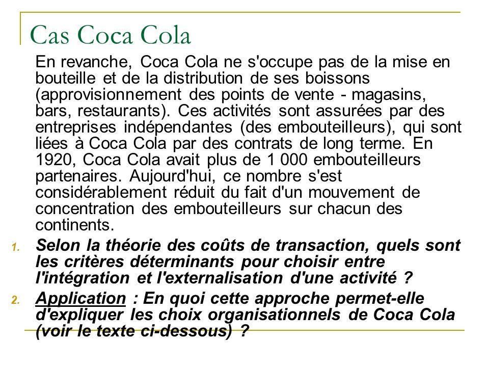 Cas Coca Cola En revanche, Coca Cola ne s'occupe pas de la mise en bouteille et de la distribution de ses boissons (approvisionnement des points de ve