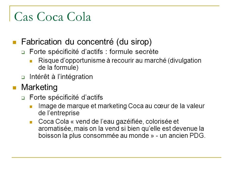 Cas Coca Cola Fabrication du concentré (du sirop) Forte spécificité dactifs : formule secrète Risque dopportunisme à recourir au marché (divulgation d