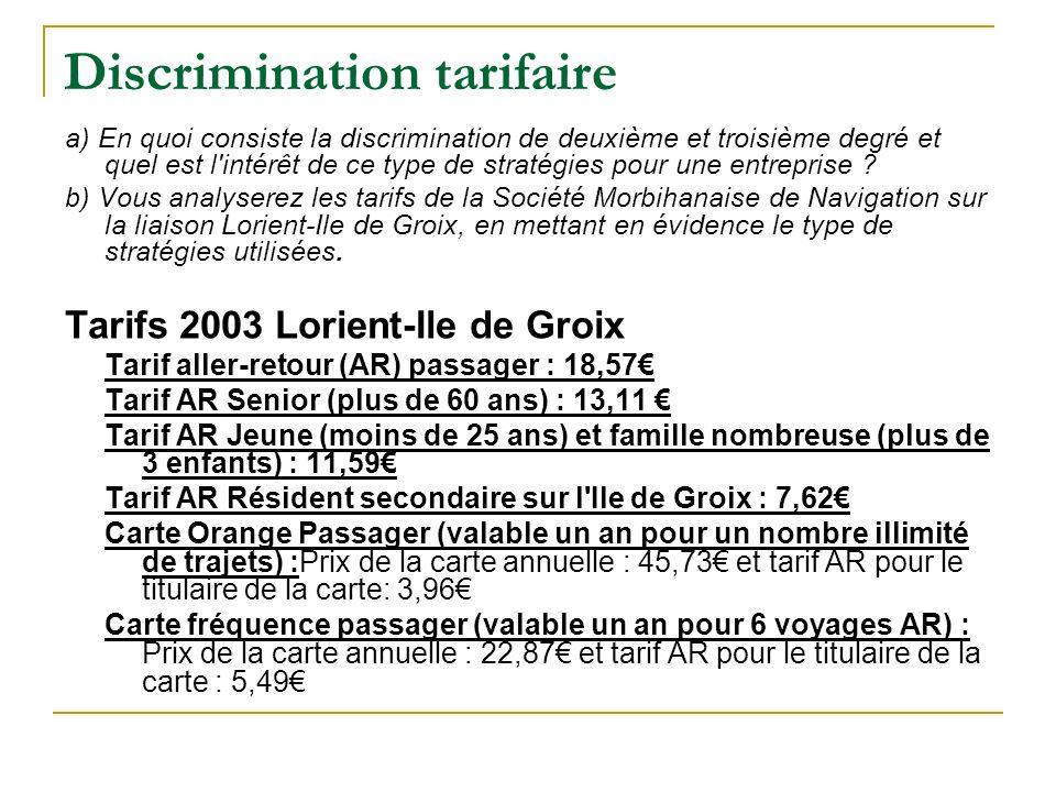 Discrimination tarifaire a) En quoi consiste la discrimination de deuxième et troisième degré et quel est l'intérêt de ce type de stratégies pour une