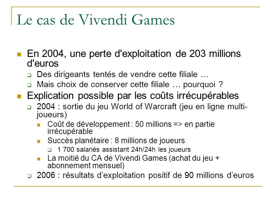 Le cas de Vivendi Games En 2004, une perte d'exploitation de 203 millions d'euros Des dirigeants tentés de vendre cette filiale … Mais choix de conser