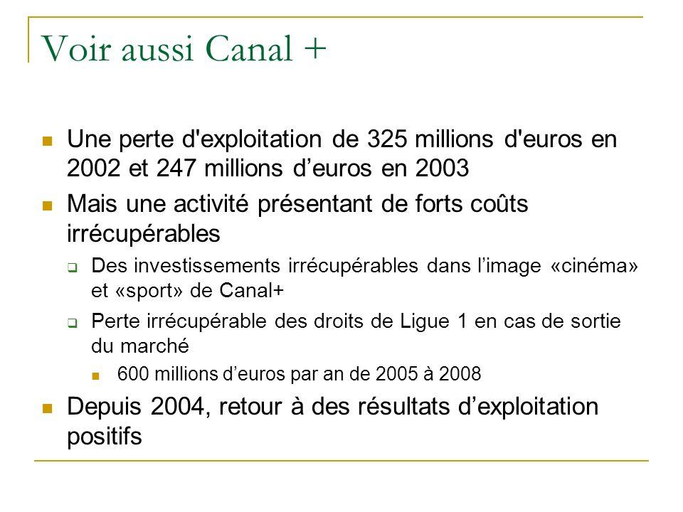Voir aussi Canal + Une perte d'exploitation de 325 millions d'euros en 2002 et 247 millions deuros en 2003 Mais une activité présentant de forts coûts