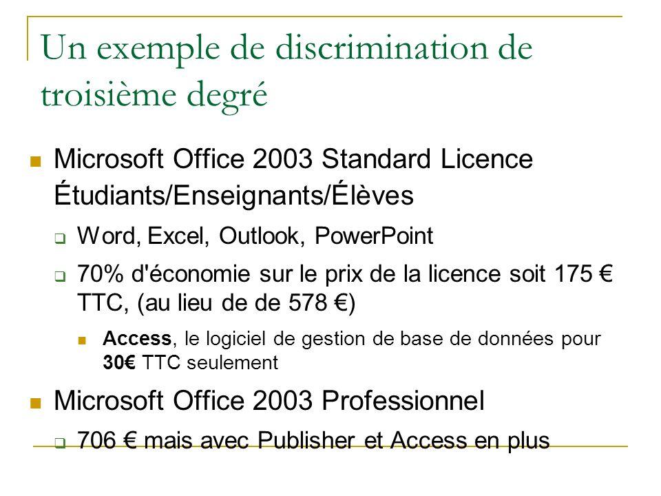 Un exemple de discrimination de troisième degré Microsoft Office 2003 Standard Licence Étudiants/Enseignants/Élèves Word, Excel, Outlook, PowerPoint 7