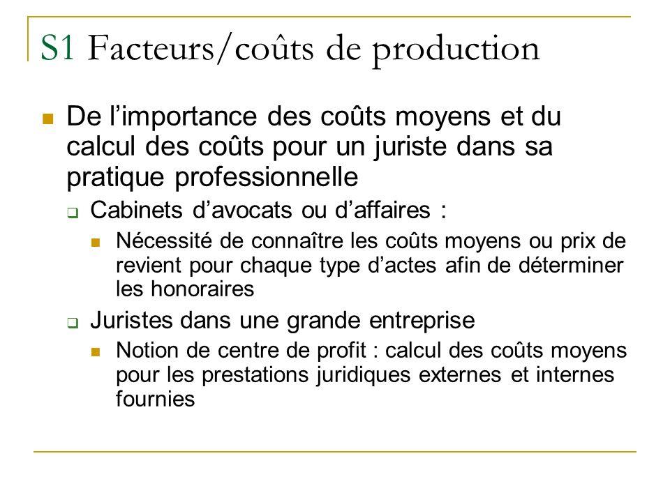 S1 Facteurs/coûts de production De limportance des coûts moyens et du calcul des coûts pour un juriste dans sa pratique professionnelle Cabinets davoc