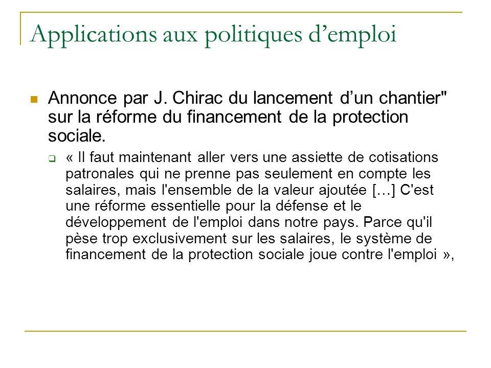 Applications aux politiques demploi Annonce par J. Chirac du lancement dun chantier