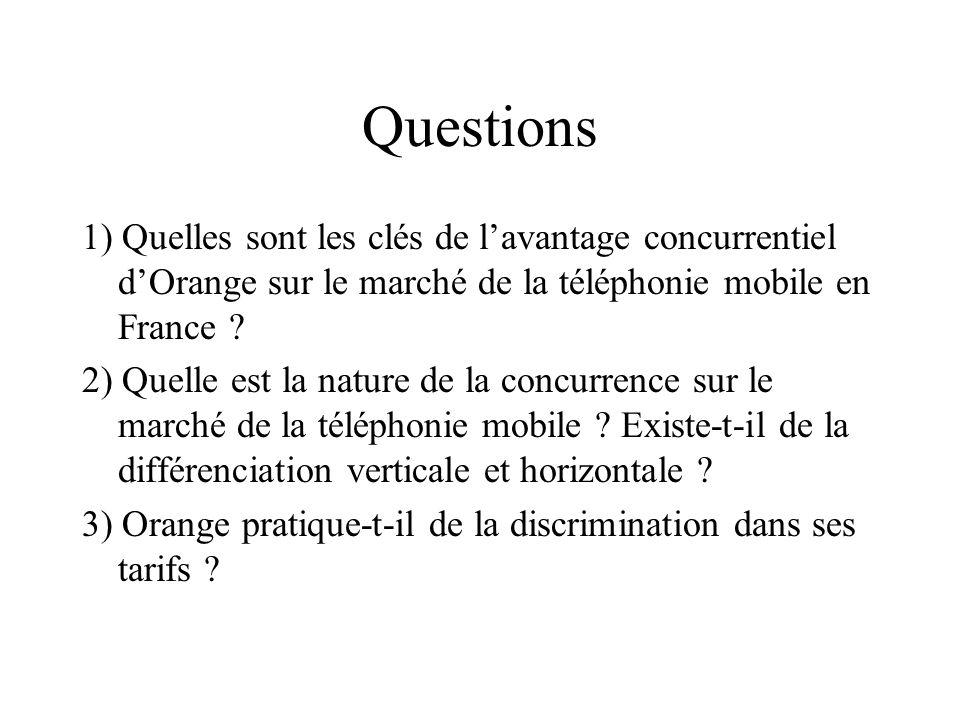 Questions 1) Quelles sont les clés de lavantage concurrentiel dOrange sur le marché de la téléphonie mobile en France ? 2) Quelle est la nature de la
