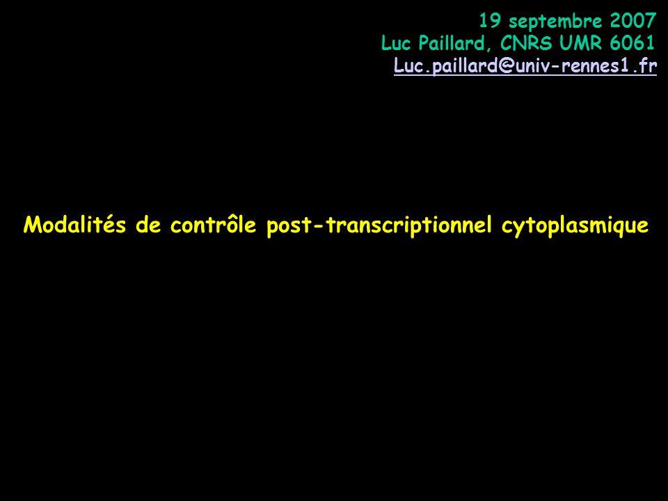 Modalités de contrôle post-transcriptionnel cytoplasmique 19 septembre 2007 Luc Paillard, CNRS UMR 6061 Luc.paillard@univ-rennes1.fr