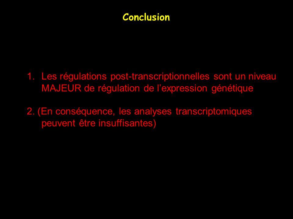 Conclusion 1.Les régulations post-transcriptionnelles sont un niveau MAJEUR de régulation de lexpression génétique 2. (En conséquence, les analyses tr