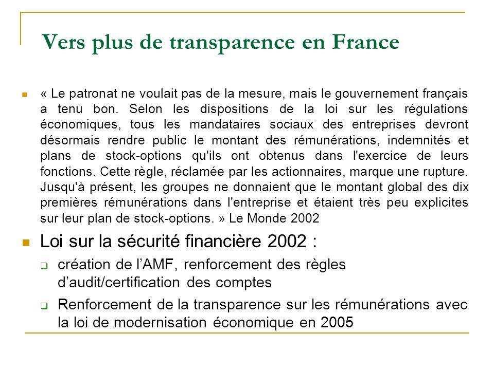 Vers plus de transparence en France « Le patronat ne voulait pas de la mesure, mais le gouvernement français a tenu bon. Selon les dispositions de la