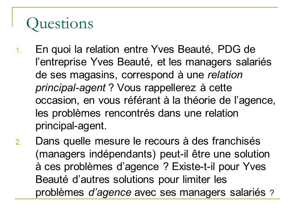 Questions 1. En quoi la relation entre Yves Beauté, PDG de lentreprise Yves Beauté, et les managers salariés de ses magasins, correspond à une relatio