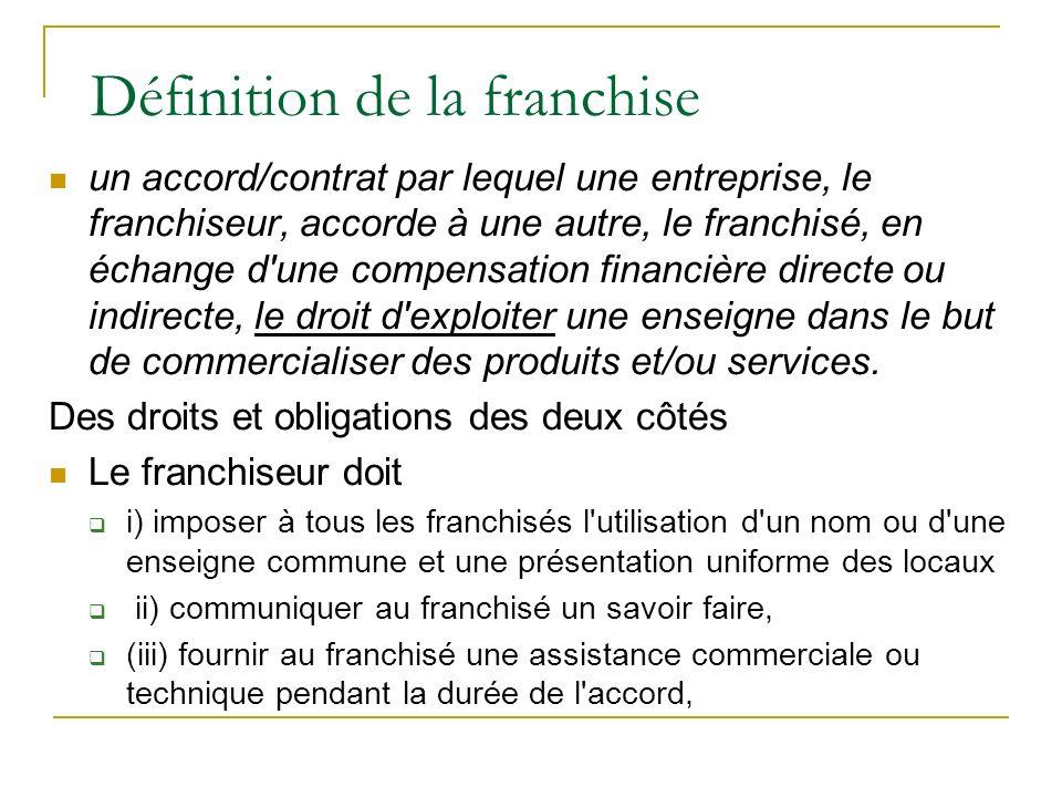 Définition de la franchise un accord/contrat par lequel une entreprise, le franchiseur, accorde à une autre, le franchisé, en échange d'une compensati