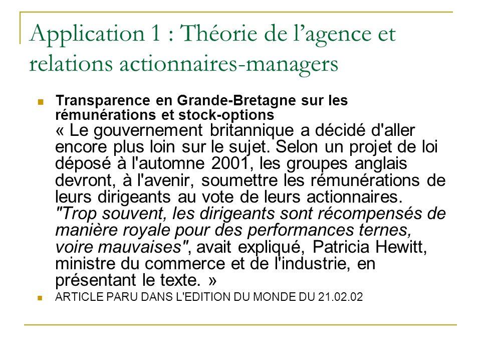 Application 1 : Théorie de lagence et relations actionnaires-managers Transparence en Grande-Bretagne sur les rémunérations et stock-options « Le gouv