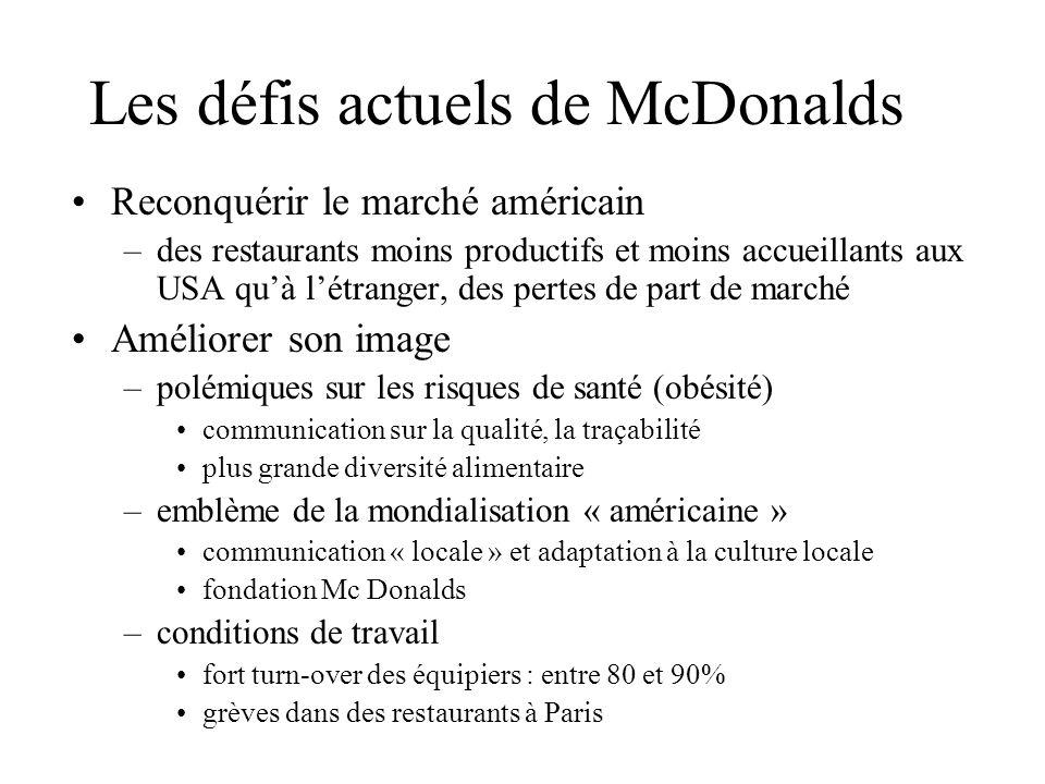 Les défis actuels de McDonalds Reconquérir le marché américain –des restaurants moins productifs et moins accueillants aux USA quà létranger, des pert