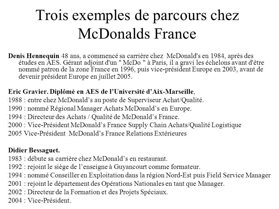 Trois exemples de parcours chez McDonalds France Denis Hennequin 48 ans, a commencé sa carrière chez McDonald's en 1984, après des études en AES. Géra