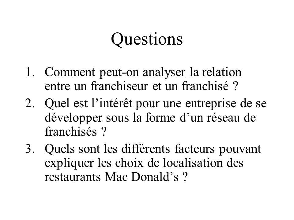 Questions 1.Comment peut-on analyser la relation entre un franchiseur et un franchisé ? 2.Quel est lintérêt pour une entreprise de se développer sous