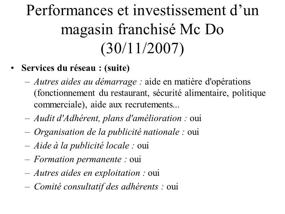 Performances et investissement dun magasin franchisé Mc Do (30/11/2007) Services du réseau : (suite) –Autres aides au démarrage : aide en matière d'op