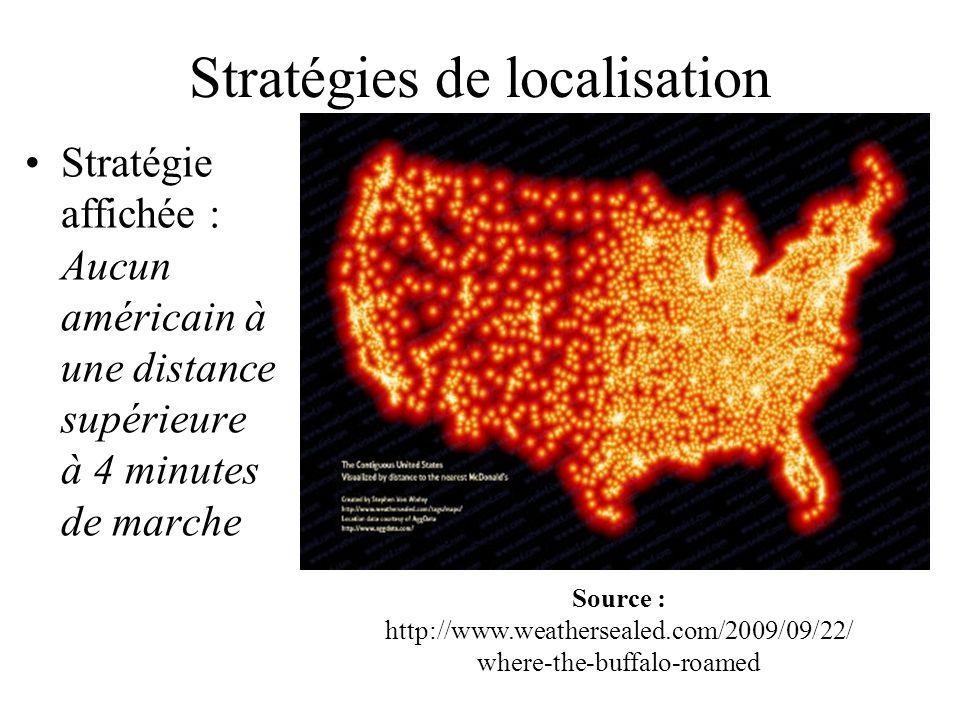 Stratégies de localisation Stratégie affichée : Aucun américain à une distance supérieure à 4 minutes de marche Source : http://www.weathersealed.com/
