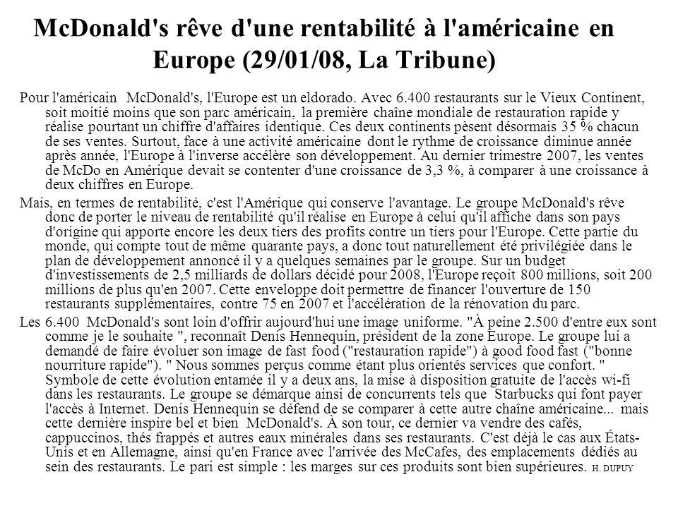 McDonald's rêve d'une rentabilité à l'américaine en Europe (29/01/08, La Tribune) Pour l'américain McDonald's, l'Europe est un eldorado. Avec 6.400 re